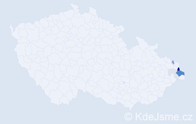Příjmení: 'Danyś', počet výskytů 19 v celé ČR
