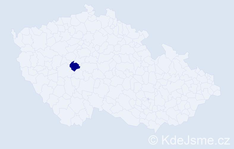 """Příjmení: '""""Čiháková Aguilar""""', počet výskytů 1 v celé ČR"""