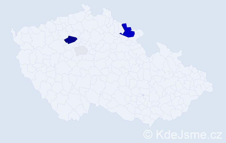 Příjmení: 'Fizér', počet výskytů 6 v celé ČR