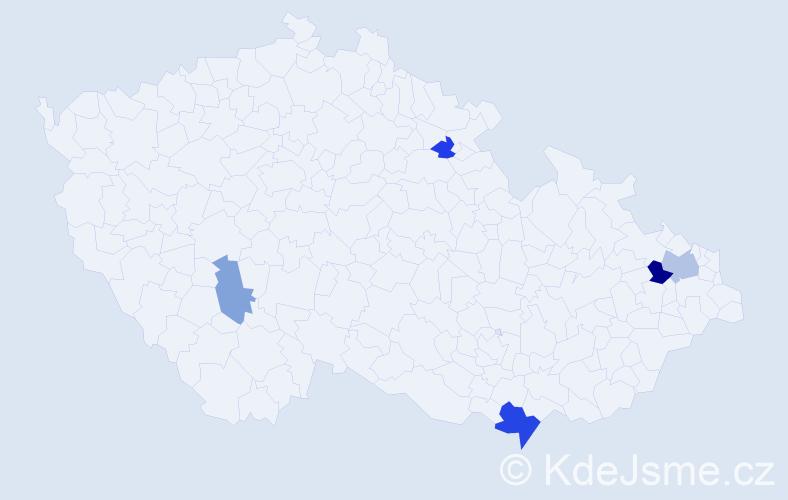 Příjmení: 'Čomová', počet výskytů 9 v celé ČR