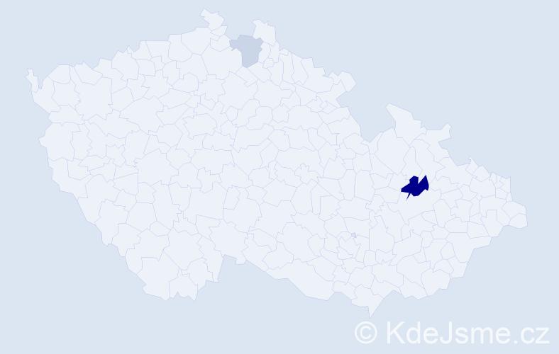 Příjmení: 'Afxentiou', počet výskytů 4 v celé ČR