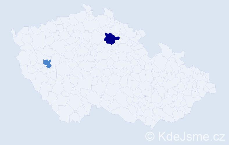 Příjmení: 'Konder', počet výskytů 7 v celé ČR