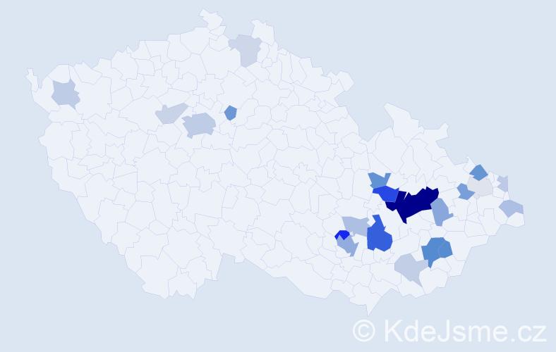 Příjmení: 'Bičová', počet výskytů 58 v celé ČR