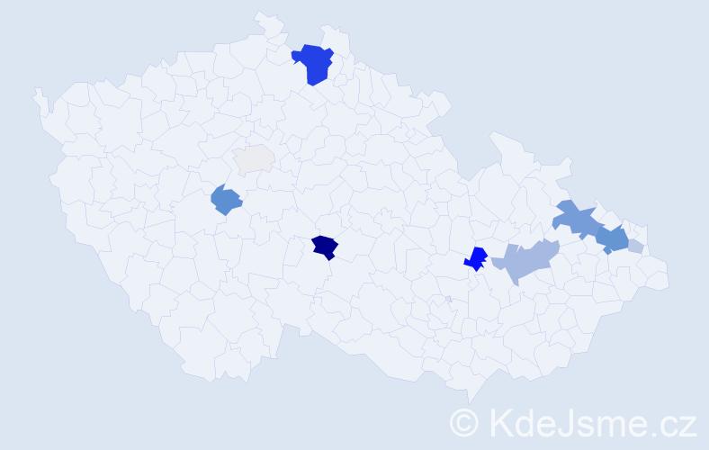 Příjmení: 'Guzik', počet výskytů 28 v celé ČR