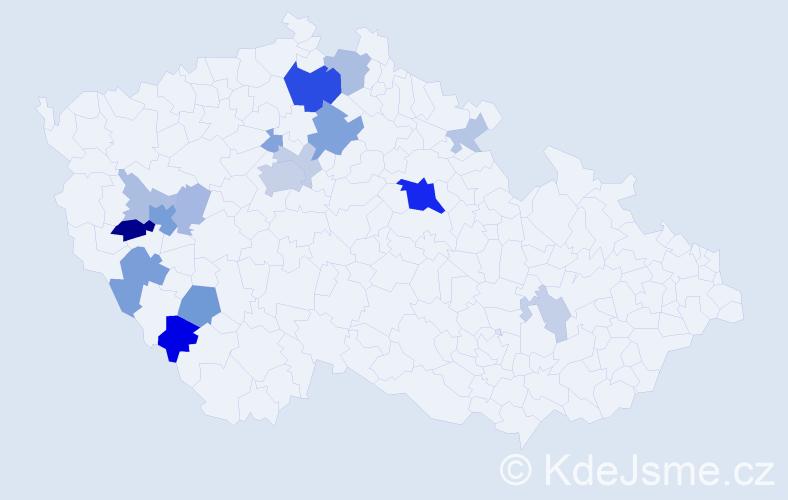 Příjmení: 'Bělohubý', počet výskytů 48 v celé ČR