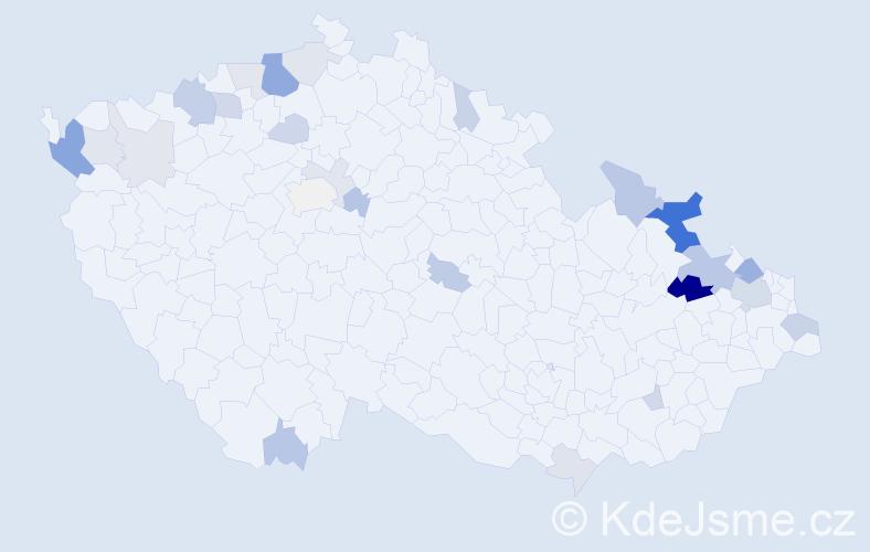 Příjmení: 'Gašpariková', počet výskytů 63 v celé ČR
