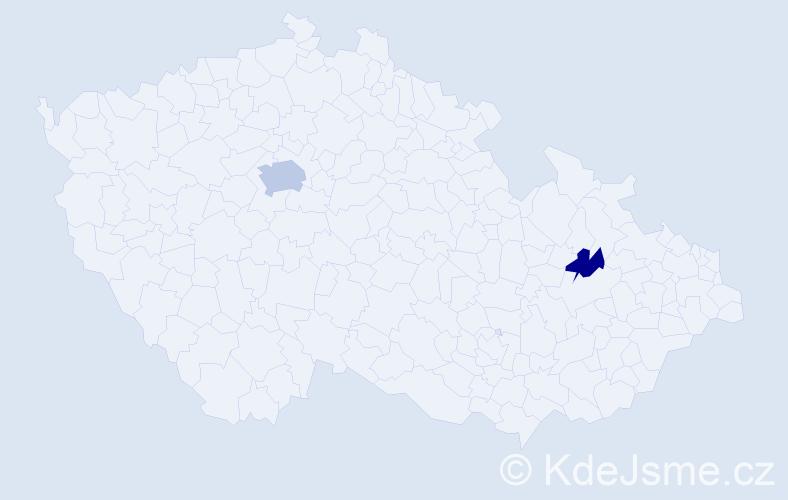 Příjmení: 'Kauzálová', počet výskytů 4 v celé ČR