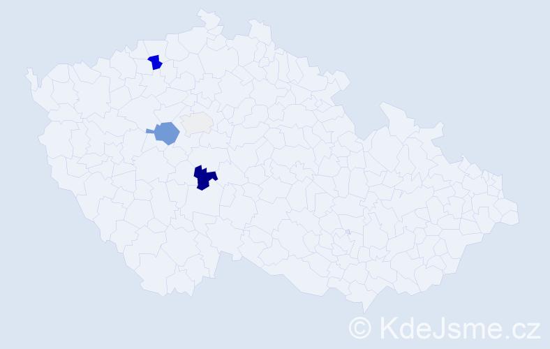 Příjmení: 'Dattlová', počet výskytů 9 v celé ČR