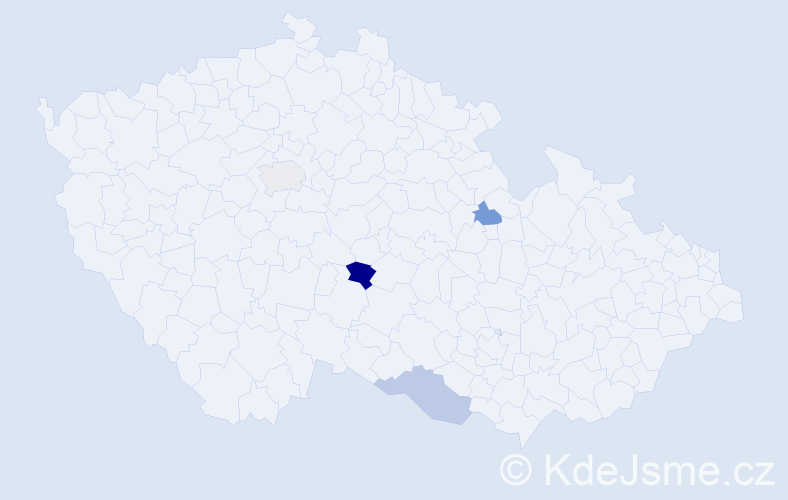 Příjmení: 'Felcanová', počet výskytů 5 v celé ČR