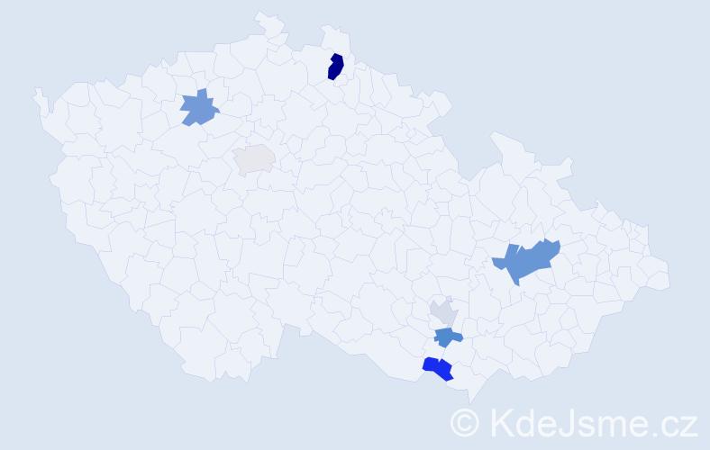 Příjmení: 'Babićová', počet výskytů 12 v celé ČR