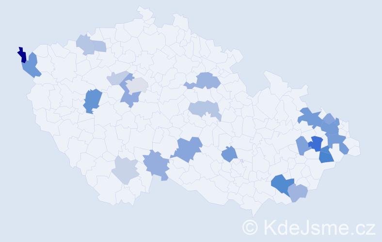 Příjmení: 'Bortelová', počet výskytů 49 v celé ČR