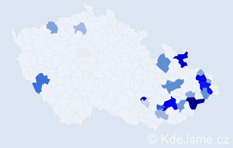 Příjmení: 'Čihánková', počet výskytů 74 v celé ČR