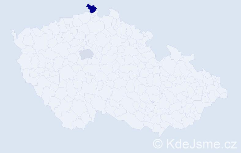 Příjmení: 'Delan', počet výskytů 2 v celé ČR