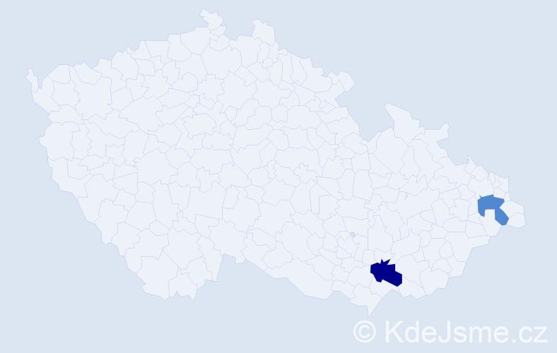 Příjmení: 'Izsóvá', počet výskytů 7 v celé ČR