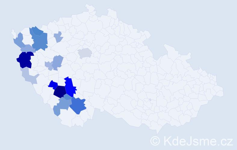 Příjmení: 'Lafatová', počet výskytů 71 v celé ČR