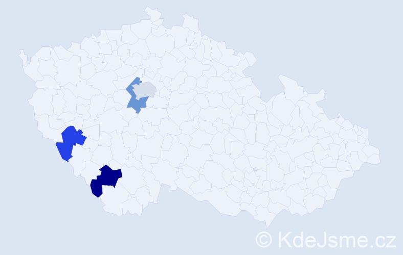 Příjmení: 'Čumpel', počet výskytů 4 v celé ČR