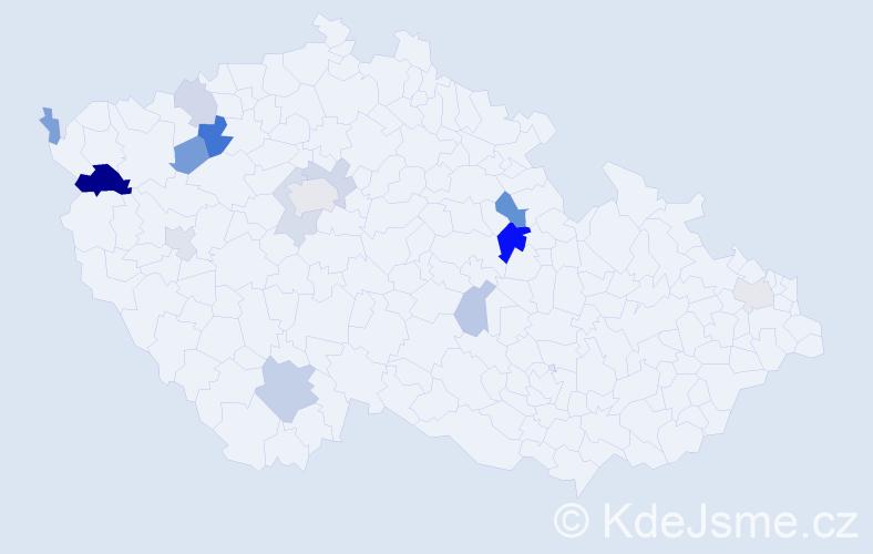 Příjmení: 'Kušnirová', počet výskytů 28 v celé ČR