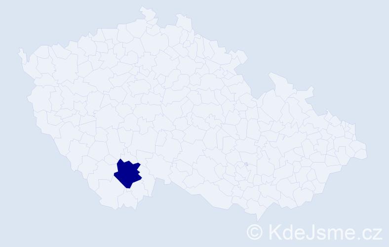 """Příjmení: '""""Gažíková Bahsová""""', počet výskytů 1 v celé ČR"""