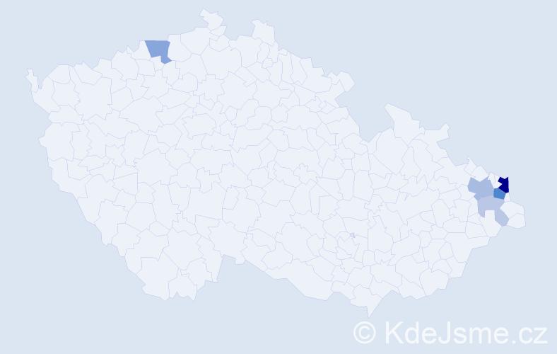 Příjmení: 'Juščíková', počet výskytů 17 v celé ČR