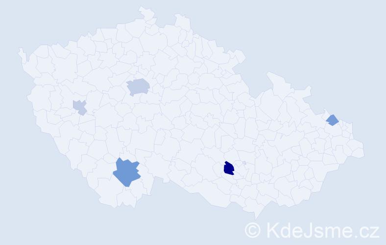 Příjmení: 'Cvetkov', počet výskytů 12 v celé ČR