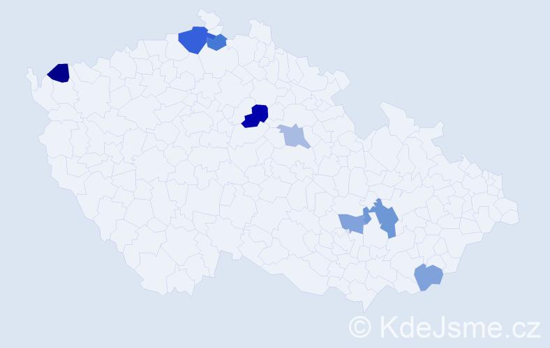 Příjmení: 'Bahno', počet výskytů 12 v celé ČR