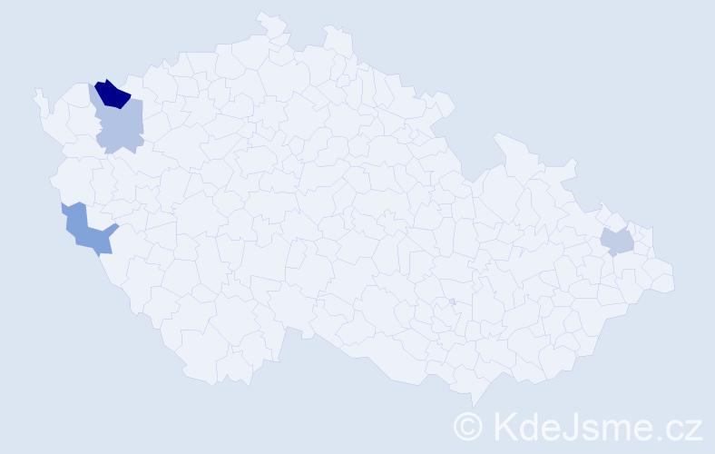 Příjmení: 'Czilling', počet výskytů 7 v celé ČR