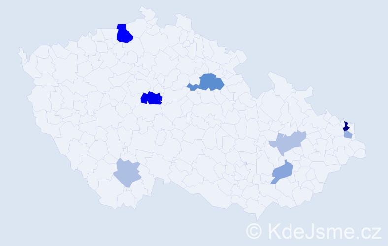 Příjmení: 'Jancura', počet výskytů 18 v celé ČR