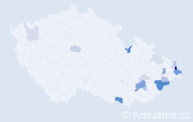 Příjmení: 'Lačík', počet výskytů 35 v celé ČR