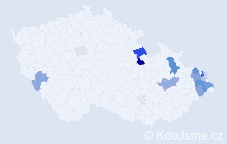 Příjmení: 'Horčičák', počet výskytů 54 v celé ČR