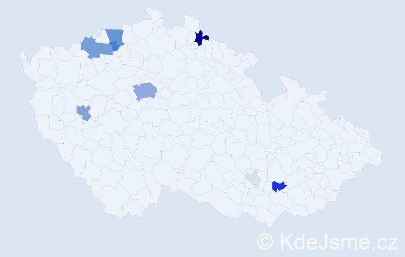 Příjmení: 'Bobysud', počet výskytů 27 v celé ČR