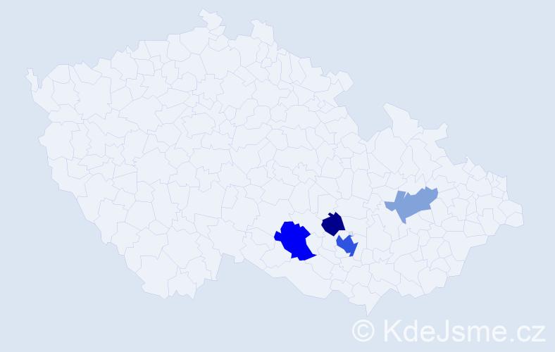 Příjmení: 'Kallabová', počet výskytů 9 v celé ČR