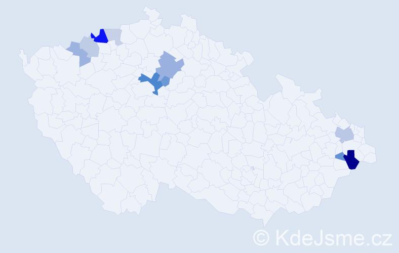 Příjmení: 'Čmuhař', počet výskytů 22 v celé ČR