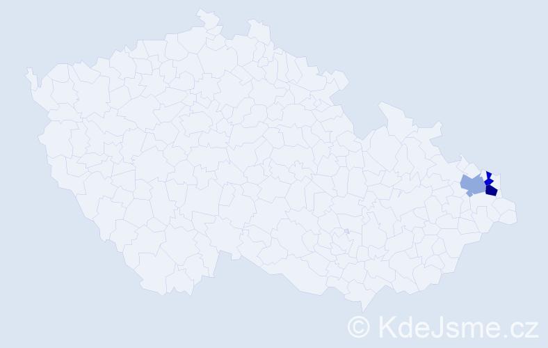 Příjmení: 'Cabaková', počet výskytů 4 v celé ČR
