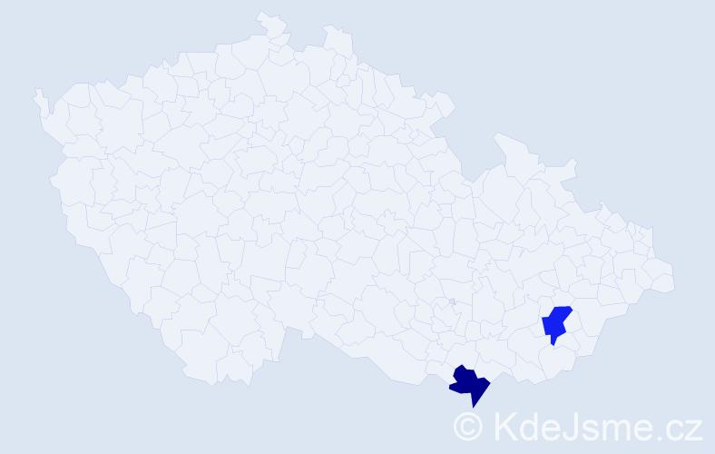 Příjmení: 'Cozens', počet výskytů 2 v celé ČR