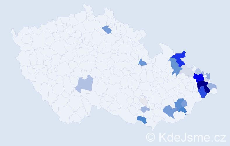 Příjmení: 'Bezruč', počet výskytů 99 v celé ČR
