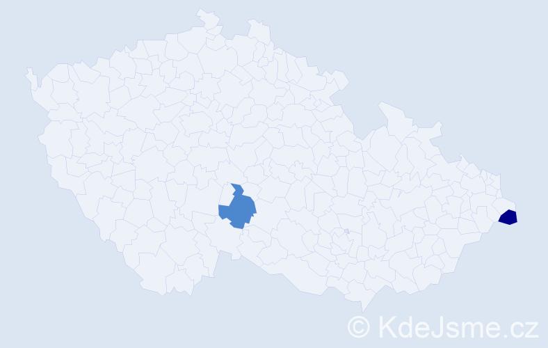 Příjmení: 'Kavuliak', počet výskytů 4 v celé ČR