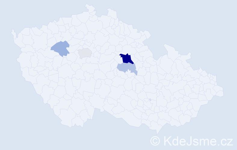 """Příjmení: '""""Dalla-Valle""""', počet výskytů 14 v celé ČR"""