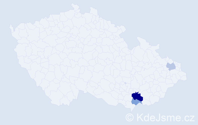 Příjmení: 'Gongalová', počet výskytů 17 v celé ČR