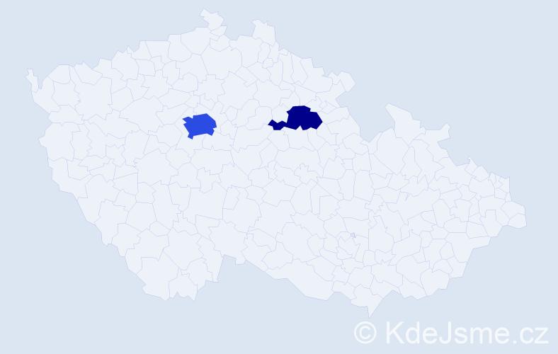 Příjmení: 'Hakkouk', počet výskytů 5 v celé ČR