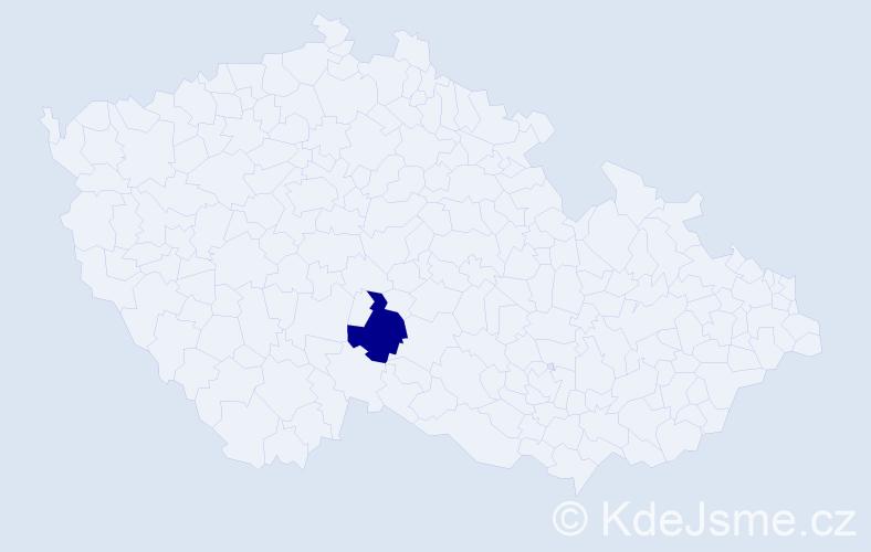 """Příjmení: '""""Hájková Vacková""""', počet výskytů 1 v celé ČR"""