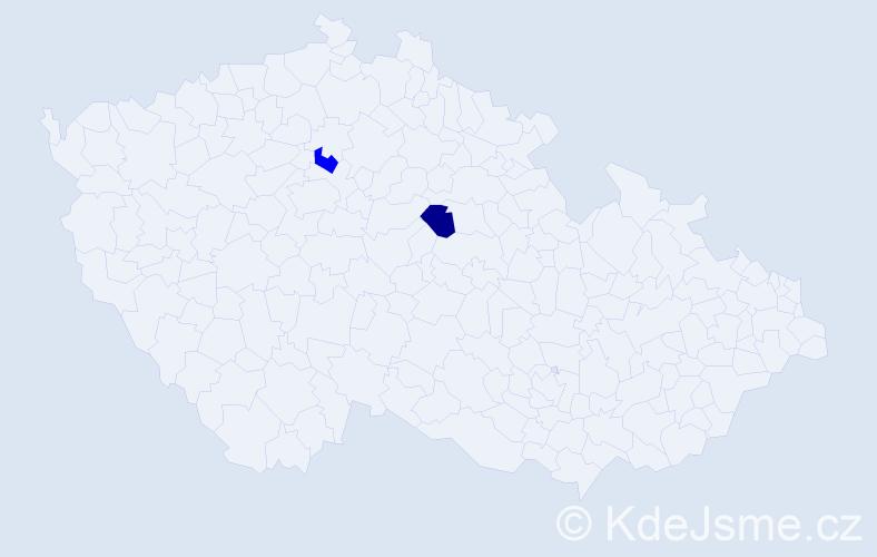 Příjmení: 'Gajochová', počet výskytů 2 v celé ČR