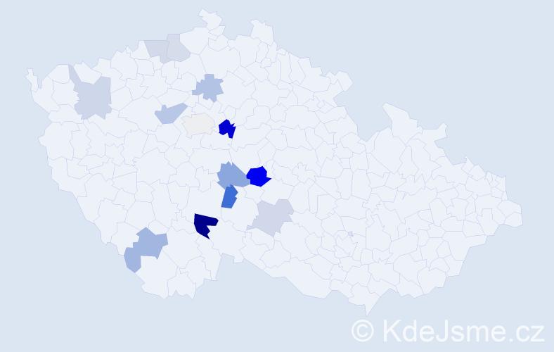 Příjmení: 'Dorážková', počet výskytů 21 v celé ČR
