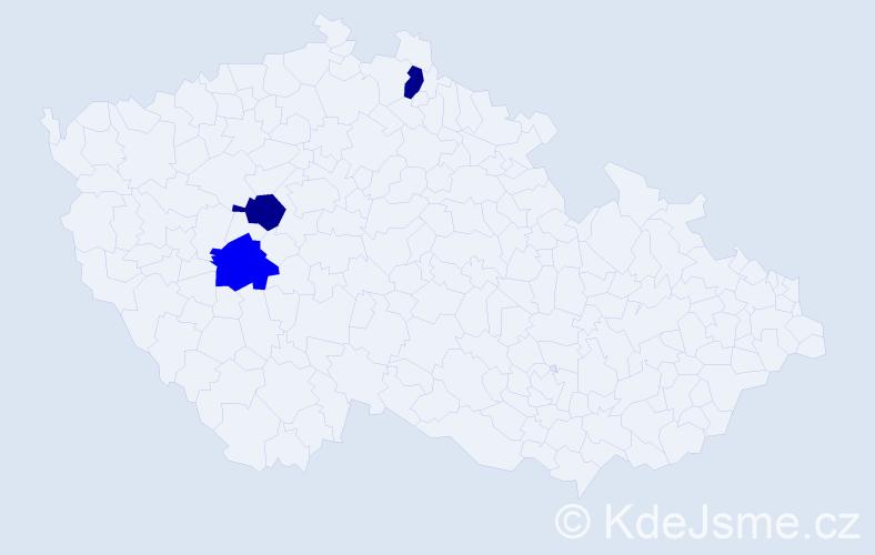 Příjmení: 'Aguilerová', počet výskytů 3 v celé ČR
