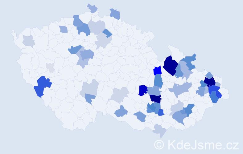 Příjmení: 'Juřinová', počet výskytů 183 v celé ČR