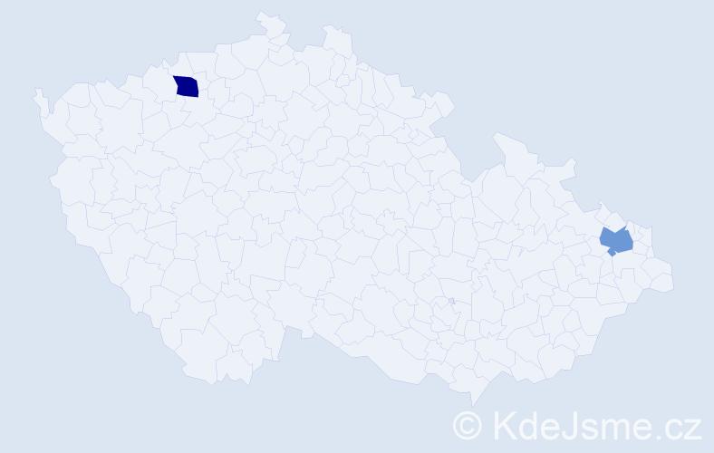 Příjmení: 'Evtimova', počet výskytů 2 v celé ČR