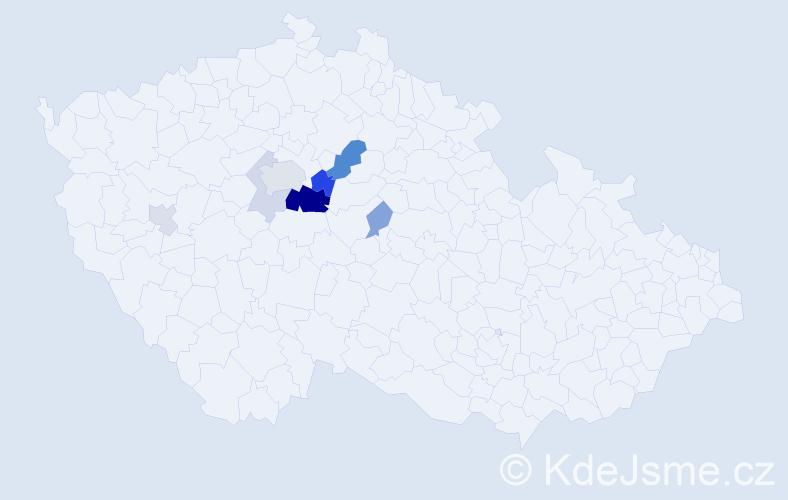 Příjmení: 'Čechrák', počet výskytů 21 v celé ČR