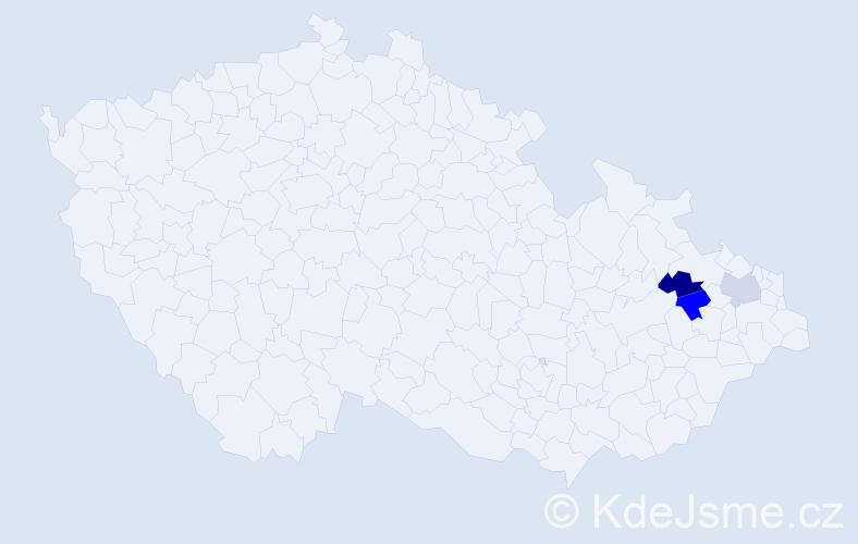 Příjmení: 'Hypal', počet výskytů 3 v celé ČR