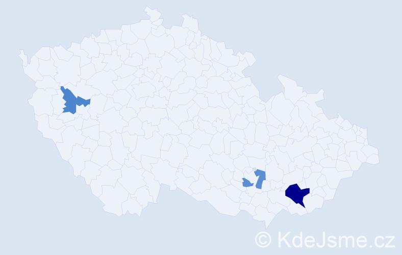 Příjmení: 'Machaníčková', počet výskytů 5 v celé ČR