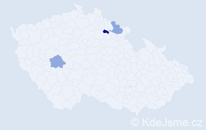 Příjmení: 'Haladyna', počet výskytů 3 v celé ČR