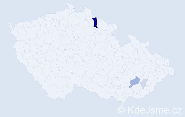 Příjmení: 'Dikoras', počet výskytů 14 v celé ČR